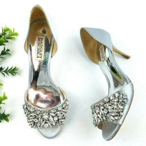 BADGLEY MISCHKA Peep Toe Embellished Heels S14